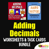 Adding Decimals Activity,Worksheets And Mystery Math Color By Number Code Bundle