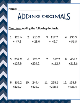 Math: Adding Decimals - 4 pages.  Each page get progressively more difficult.