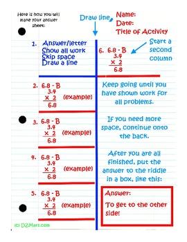 Adding Decimals 5th Grade Common Core File Folder Center / Task Card