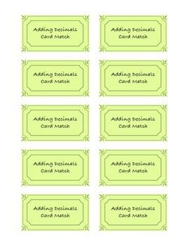 Adding Decimals Card Match