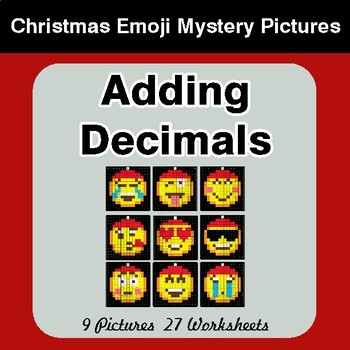Adding Decimals - Christmas EMOJI Color-By-Number Math Mystery Pictures