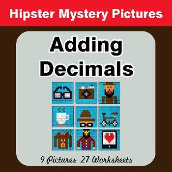 Adding Decimals - Color-By-Number Mystery Pictures - Hipster Theme