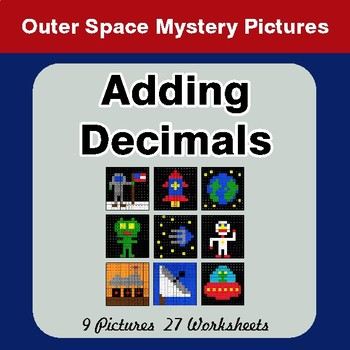 Adding Decimals - Color-By-Number Math Mystery Pictures - Hipster Theme - Space theme