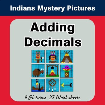 Adding Decimals - Color-By-Number Math Mystery Pictures - Indians Theme
