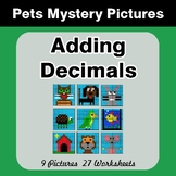 Adding Decimals - Color-By-Number Mystery Pictures - Pets Theme