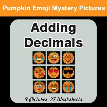 Adding Decimals - Color-By-Number PUMPKIN EMOJI Math Mystery Pictures