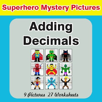 Adding Decimals - Color-By-Number Superhero Math Mystery Pictures