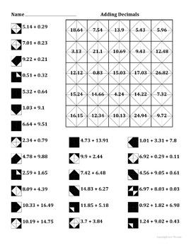 Adding Decimals Color Worksheet