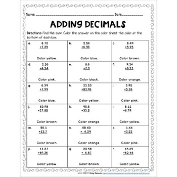 Adding Decimals Color by Number-Fall Theme