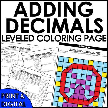 Adding Decimals Coloring Page Activity