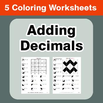 Adding Decimals - Coloring Worksheets