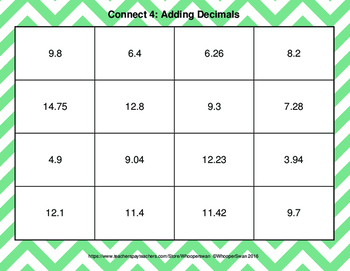 Adding Decimals - Connect 4 Game