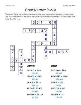 Adding Decimals Cross-Number Puzzle