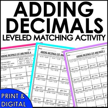 Adding Decimals Cut and Paste Activity