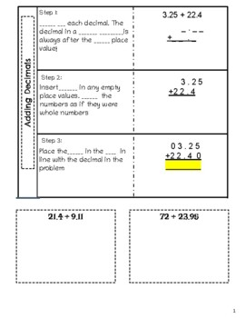 Adding Decimals Differentiated Interactive Notes