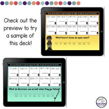 Adding Decimals Digital Task Cards | Boom Cards | Riddles
