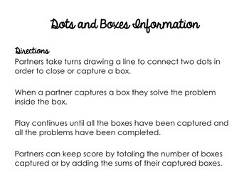 Adding Decimals Dots and Boxes Game