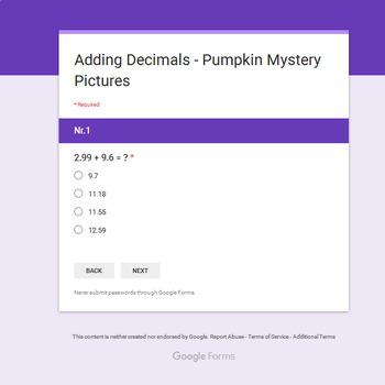 Adding Decimals - EMOJI PUMPKIN Mystery Picture - Google Forms