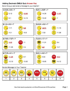 Adding Decimals Emoji Quiz