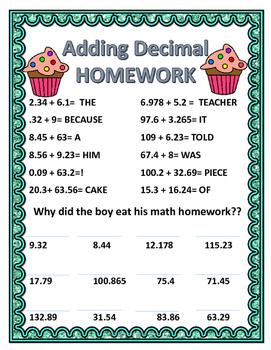 Adding Decimals Homework