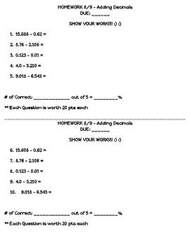 Adding or Subtracting Decimals Homework (half sheet)