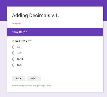 Adding Decimals - Interactive Digital Task Cards - Google Forms