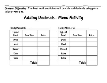 Adding Decimals Menu Project