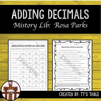 Adding Decimals Mistory Lib Rosa Parks