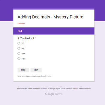 Adding Decimals - Monster Mystery Picture - Google Forms