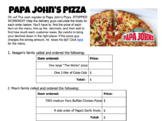 Adding Decimals - Papa John's Pizza Menu Math Activity Worksheet