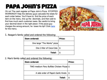 photo relating to Papa Johns Printable Menu called Including Decimals - Papa Johns Pizza Menu Math Recreation Worksheet