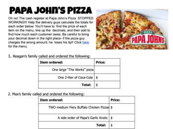 Adding Decimals - Papa John's Pizza Menu Math Activity Worksheet