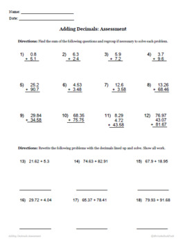 Adding Decimals - Printable Packet