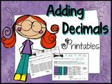 """Adding Decimals """"Decimal Worksheets"""""""