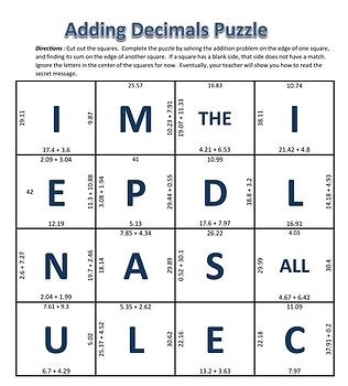 Adding Decimals Puzzle - Addition through Hundredths Place