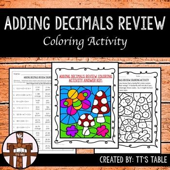 Adding Decimals Review Coloring Activity