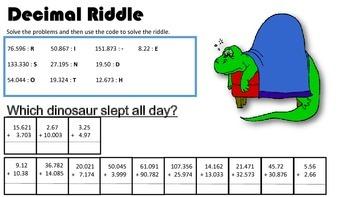 Adding Decimals Riddle
