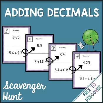 Adding Decimals Activity - Scavenger Hunt