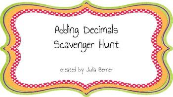 Adding Decimals Scavenger Hunt