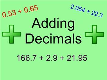 Adding Decimals - Smartboard