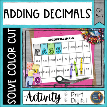 Adding Decimals Solve, Color, Cut