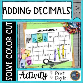 Adding Decimals Solve, Color, Cut