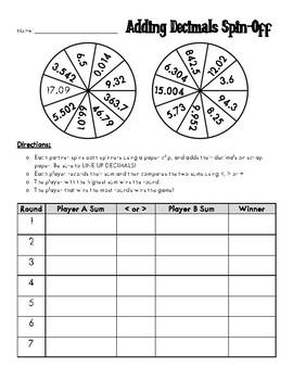 Adding Decimals Spin-off