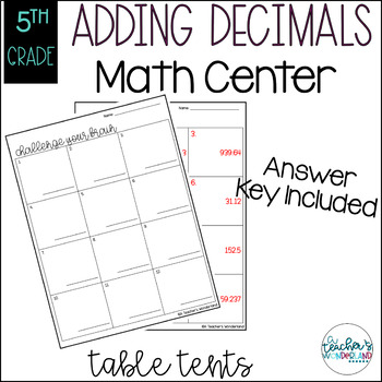 Adding Decimals Table Tent Challenges