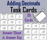Adding Decimals Task Cards 4th 5th 6th Grade
