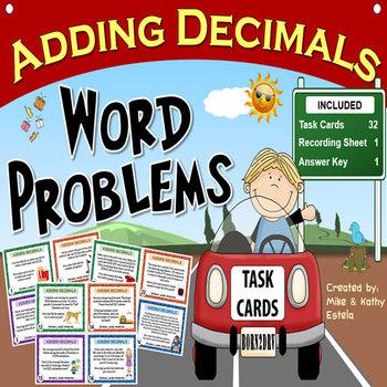 Adding Decimals Task Cards {Word Problems}