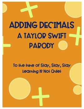 Adding Decimals (Taylor Swift, Shake it Off) (Lyrics, Worksheet)