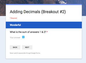 Adding Decimals – Two Breakout Activities!