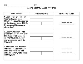 Adding Decimals - Word Problems