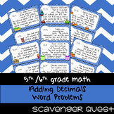 Adding Decimals Word Problems - Math Scavenger Quest